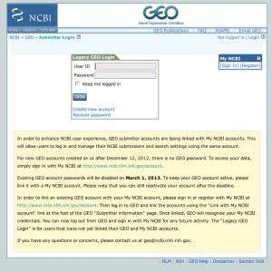 GEO アカウントから NCBI アカウントへ。