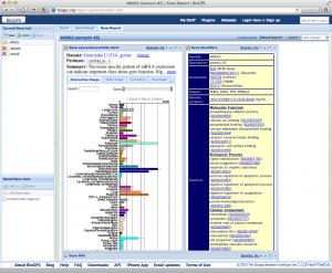 複数の組織や細胞における発現レベルを棒グラフで確認。