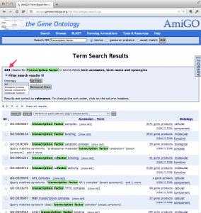 """AmiGO を """"transcription factor"""" で検索した結果。"""