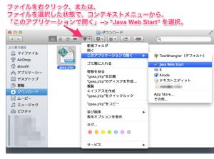 Mac での起動例。